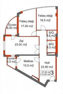 Bakı şəhəri, Yasamal rayonunda, 3 otaqlı yeni tikili satılır (Elan: 111480)