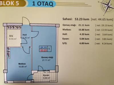 Xırdalan şəhərində, 1 otaqlı yeni tikili satılır (Elan: 160497)