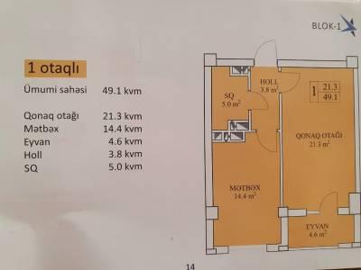 Xırdalan şəhərində, 1 otaqlı yeni tikili satılır (Elan: 144540)