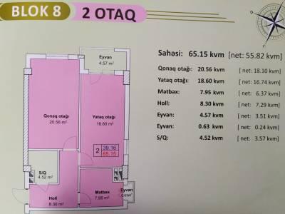 Xırdalan şəhərində, 2 otaqlı yeni tikili satılır (Elan: 144667)