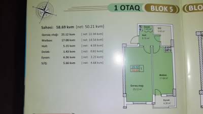 Xırdalan şəhərində, 1 otaqlı yeni tikili satılır (Elan: 147306)