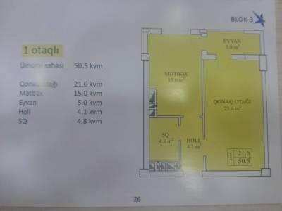 Xırdalan şəhərində, 1 otaqlı yeni tikili satılır (Elan: 145572)