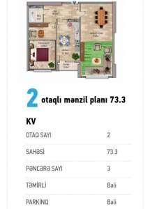 Bakı şəhəri, Yasamal rayonunda, 2 otaqlı yeni tikili satılır (Elan: 111493)