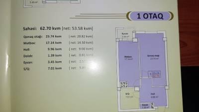 Xırdalan şəhərində, 1 otaqlı yeni tikili satılır (Elan: 157971)