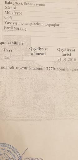 Bakı şəhəri, Səbail rayonu, Badamdar qəsəbəsində torpaq satılır (Elan: 183899)